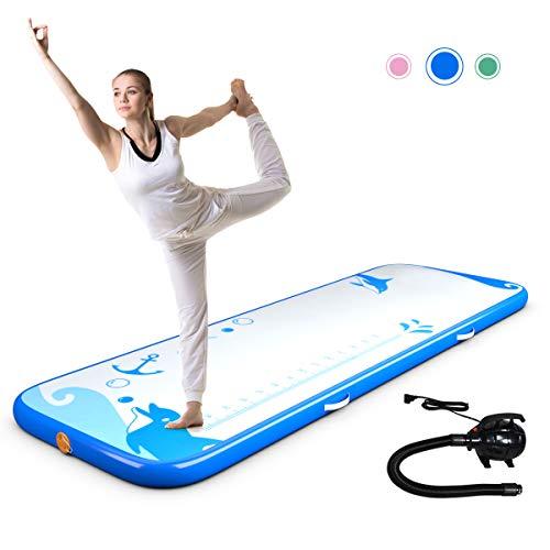 DREAMADE Air-Track Gymnastikmatte 3m, Yogamatte Aufblasbar, Trainingsmatte Weichbodenmatte Luft Matrazen, Fitnessmatte Turnmatte mit Elektronische Pumpe, 300 x 100 x 10 cm (Blau)
