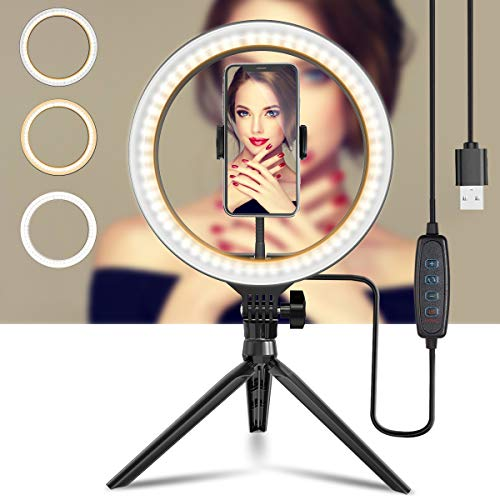 """10"""" Ring Light with Tripod Stand and Phone Holder, Brokuca Selfie Ring Light USB LED Ringlight for Makeup/Live Streaming/YouTube Video/Photography, Compatible with iPhone/Android"""