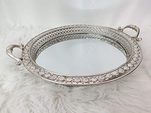 ZD Trading Tablett Dekotablett Metall Kerzen Spiegeltablett Shabby Landhaus Vintage Silber