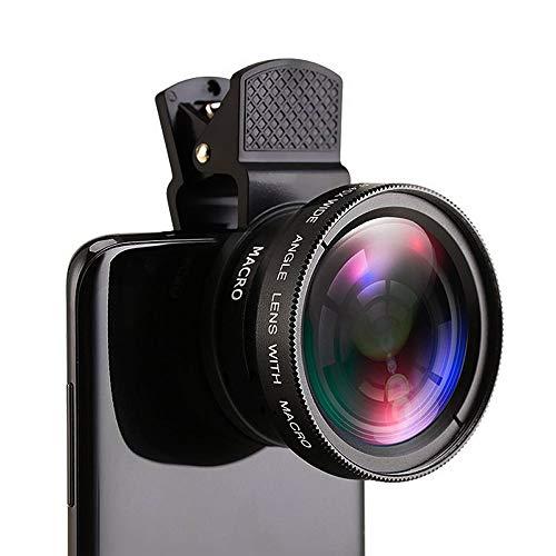 Qiwenr Kit Lentes Cámara Móvil,Gran Angular 0.45x y Macro 12.5X 2IN1 Lente de cámara Universal Phone Cameras Lens Kit,para Móvil iPhone Android Smartphone