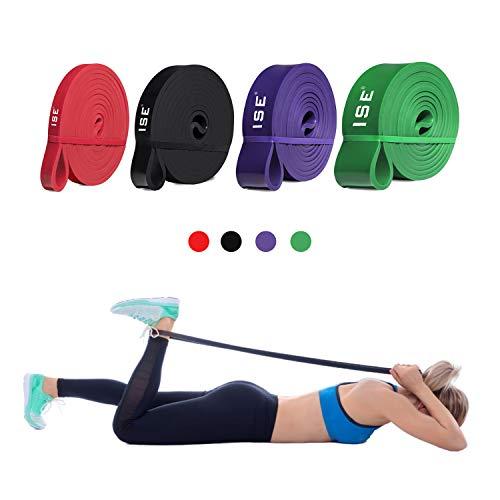 ISE Fitnessbänder Set 4 Trainingsbänder Gymnastikband für Fitnesstraining/Stretching,Resistance Band,Pull Ups Stretching,Übungsbänder für Arm,Beine,Widerstandsbandset: 4 Widerstandsbänder