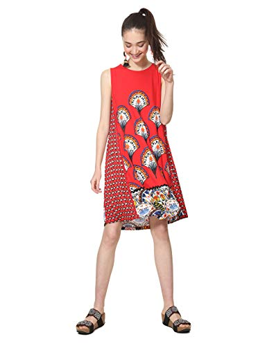 Desigual Damen Dress Sleeveless Vento Woman RED Kleid, Rot (Rojo Roja 3061), Small