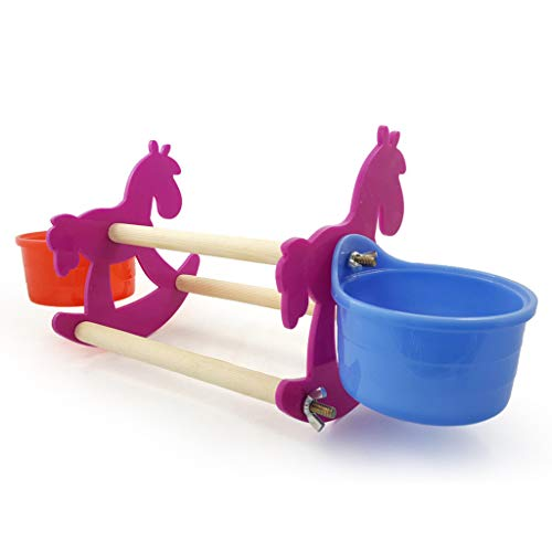 huiingwen Small Wooden Rocking Horse Chair Toys with Double Cup Feeder, Bird Parrot Chew Toy Pet Birds Feeding Supplies