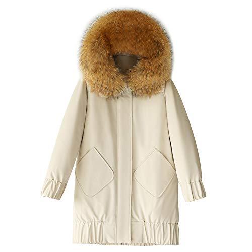 Grote Bont kraag donsjack, dames winter lange sectie was dun dikke warme jas-XL