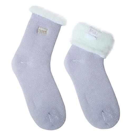 JARSEEN 2 Pares Calcetines de Lana Térmicos de Invierno Bordado Lindo Super Calor Gruesa Calentar Suave Cómodo Calcetines de Mujer (2 Morado, EU 36-42)