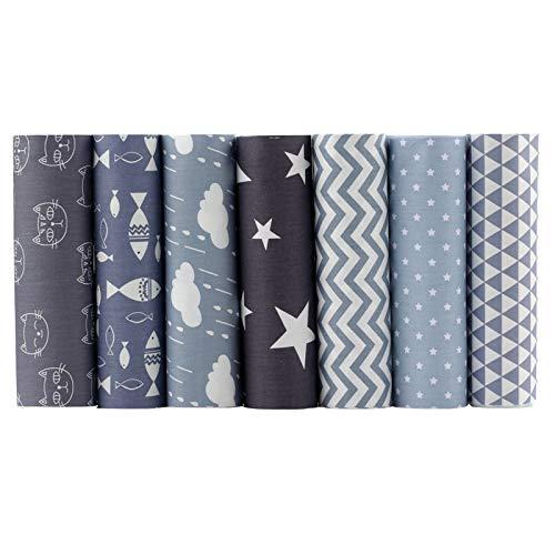 "ShuanShuo Coffer Series Cotton Fabric Quilting Patchwork Fabric Fat Quarter Bundles Fabric for Sewing DIY Crafts Handmade Bags 15""X19"" 7pcs/lot (Cartoon Gray)"
