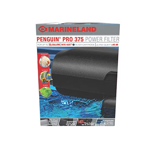 MarineLand Penguin PRO 375 Power Filter, Multi-Stage Aquarium Filtration for Up to 75 Gallons