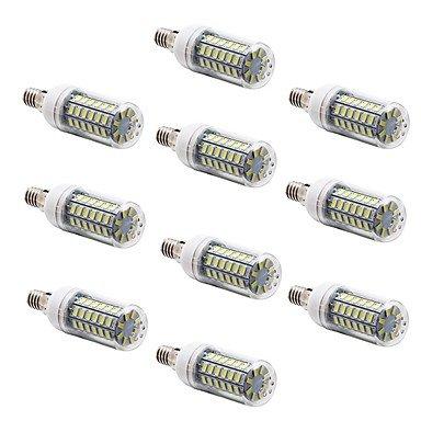 WELSUN Ampoules Maïs LED Décorative Blanc Chaud/Blanc Froid 10 pièces T E14 / G9 / E26/E27 69 SMD 5730 1000 LM AC 100-240 V (Couleur : Blanc Chaud, Connector : E14-Blanc chaud-220V)