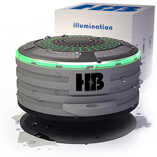 HB Bluetooth Shower Speaker Illumination 2.0 – Waterproof Bluetooth Speaker – IPX7 Waterproof, Shockproof, Dustproof with LED Lights – Bluetooth 4.0 Pairs with Phones, Tablets, Computer and Radio.