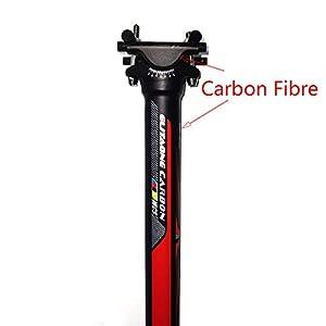 QIKU Tija de sillín Completa de Fibra de Carbono Ultraligera con Retroceso 0 ° UD Longitud Negra 350 / 400mm (31.6 * 400mm)