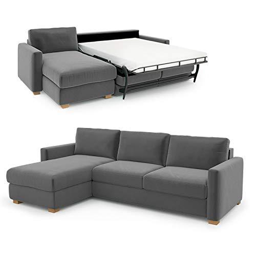 place to be. Sofá cama de 3 plazas con canapé para ver la televisión y relajarse, color gris oscuro