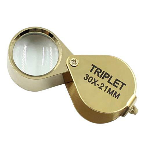 Gold 30X21mm Schmuck Lupe Tragbare Faltlupe Taschenlupe zum Lesen Inspektion Edelstein Rock Stempel Münzen Hobbys