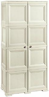 Tontarelli 8085555210 Armoire Omnimodus 1 Coté avec 4 Compartiments et 1 cote penderie/range-balai - 2 portes pleines