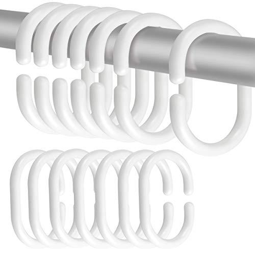 Fodlon 24 STK Duschvorhang Haken, Kunststoff Vorhang C Ringe, Weiße Vorhang Aufhängeringe für Badezimmer, Bade Dusch-Fensterstange (6 cm x 4 cm x 0,5 cm)