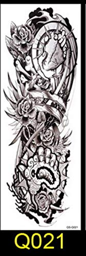 Huien 1 PCS Pleine Fleur Bras Tatouage Autocollant Poisson Paon Lotus Temporaire Corps Peinture Transfert d'eau Faux Manche, Q021