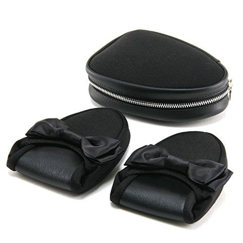 [ハッピークローバー] ブラックリボン かかと付き携帯用スリッパ【ケース付】 (23.0~24.0cm)