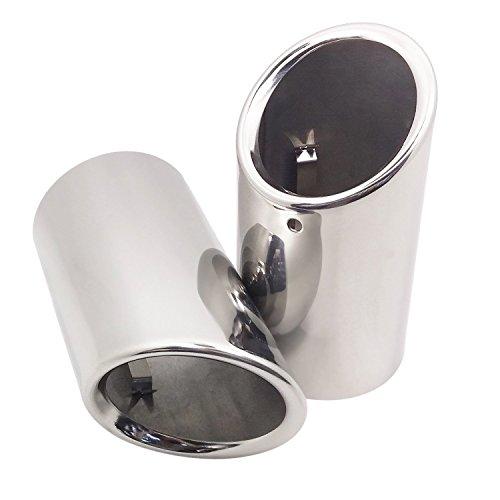 Wisamic 2 piezas de escape de acero inoxidable Tubo de escape Silenciador Extremo de extremo de extremo Tubo de extremo