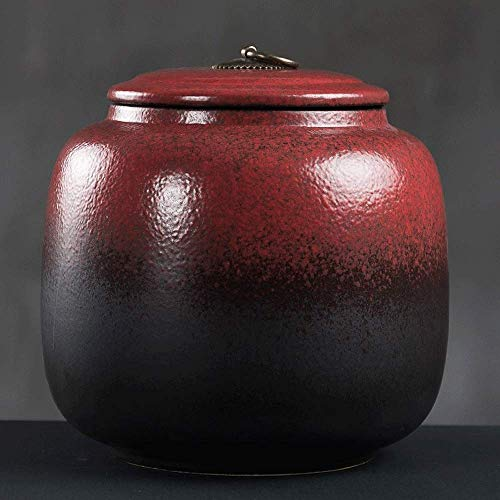 PERFECT HOME Große Urne Handgefertigte Keramikofen Wechsel Feuerbestattungsurne Für Menschliche Asche - Adult Funeral Urn Handcrafted - Urne Für Asche, 22 × 22 × 23cm, Rot