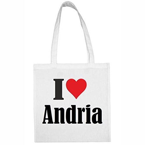 Tasche I Love Andria Größe 38x42 Farbe Weiss Druck Schwarz