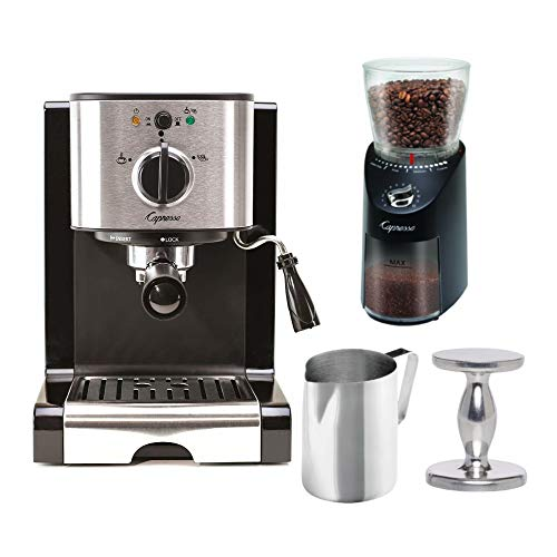 Capresso EC100 Pump Espresso Machine with 570.01 Infinity Plus Coffee Grinder, Tamper and Pitcher Value Bundle (4 Items)