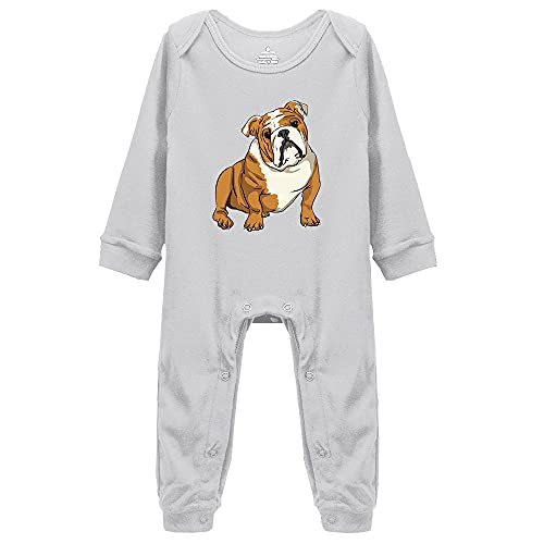 Migsrater French Bulldog Baby Cotton Bodysuit Long Sleeve Onesie Romper, for Cute Dog Lovers Grey