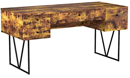 Analiese 4-Drawer Writing Desk Antique Nutmeg and Black
