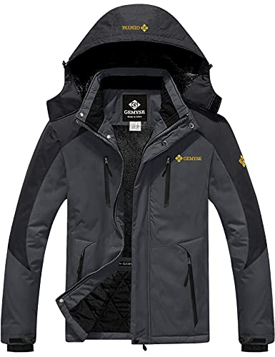 GEMYSE Chaqueta de Esquí Impermeable de Montaña para Hombre Abrigo de Invierno de Lana Antiviento con Capucha (Negro Gris 06,M)