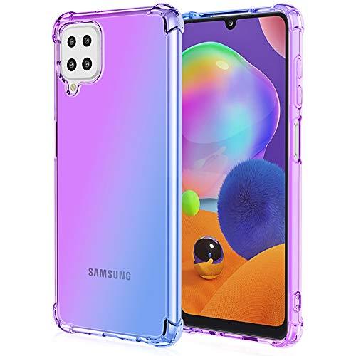 ALAMO Bunt Farbverlauf Hülle für Samsung Galaxy A12   M12, Durchscheinend TPU Silikon Handyhülle mit StoßFest Bumper - Lila Blau