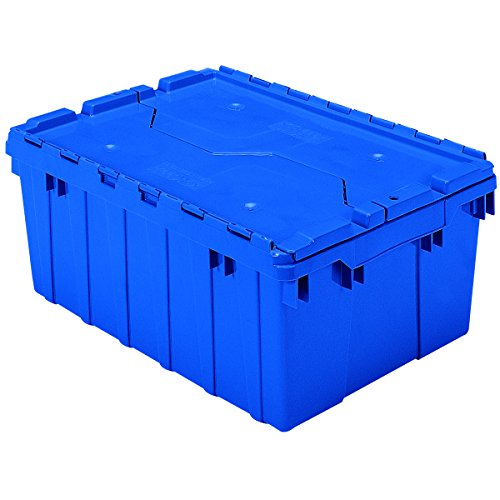 Akro-Mils 39085 Industrial Plastic Storage Tote with Hinged Attached Lid, (21-Inch L by 15-Inch W by 9-Inch H), Blue, (6-Pack)