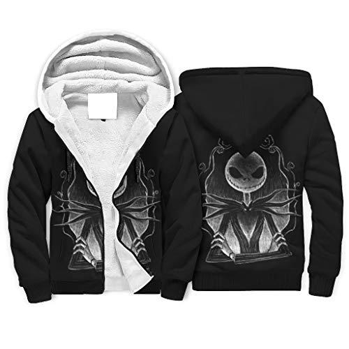 Dark Jack Nightmare - Sudadera con capucha para hombre, transpirable, cálida, con cremallera, bolsillos laterales para gimnasio, deporte, color blanco