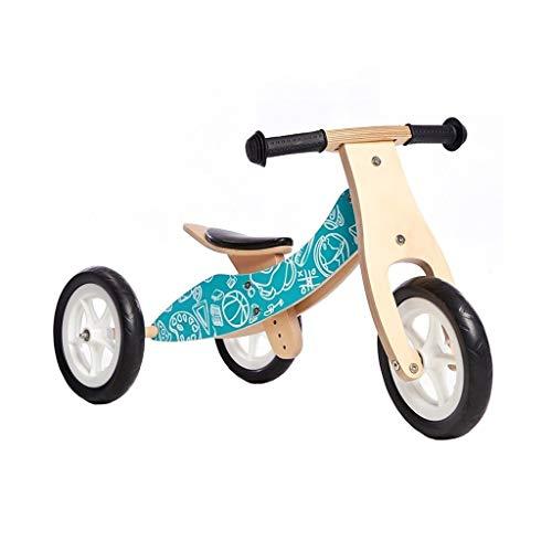 WENJIE Triciclos Portátiles Bicicletas Y Triciclos De Equilibrio De Madera, Convertible Pedalless Equilibrio Triciclos For Niños Y Bicicletas De Empuje Naturales - 2 En 1 Y 2 Colores (Color :