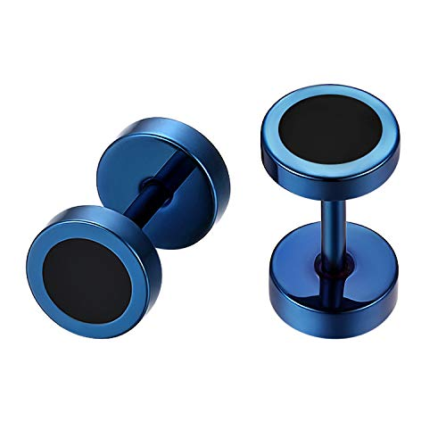 Flongo 6-12mm Pendientes hombre mujer, Azul negros pendientes de acero inoxidable, Estilo Hip Hop redondos pendientes pequeños, 1-4 Pares