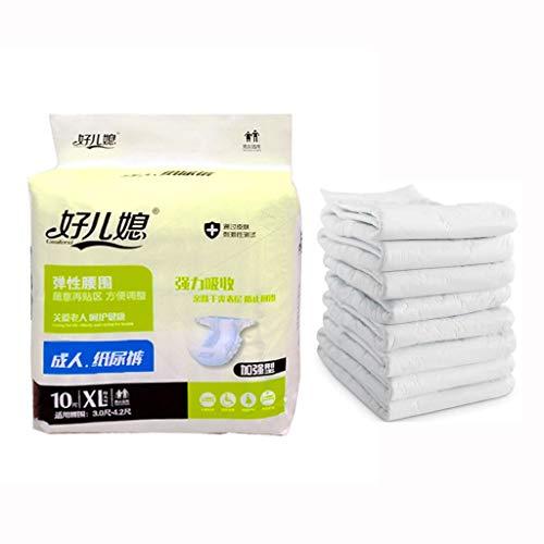 HKD Erwachsenen Windel Sehr Saugstarke Windeln Atmungsaktiv Inkontinenz Einweghose 10 Stück (Color : White, Size : XL)