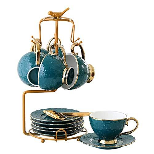 GSAGJcj Europäisches Bone China Service-Kaffeeset mit Metallhalter, Vintage-Blumenteeset, Set mit 2/6 for Espresso, for den Haushalt (Color : Set of 6)