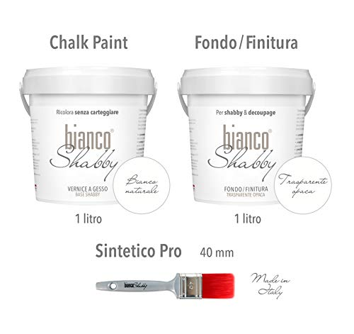 CHALK PAINT Bianco Naturale & FINITURA - Pittura Shabby Chic (1 Litro) + Fondo Finitura Trasparente Opaco (1 Litro) + Pennello 40 mm