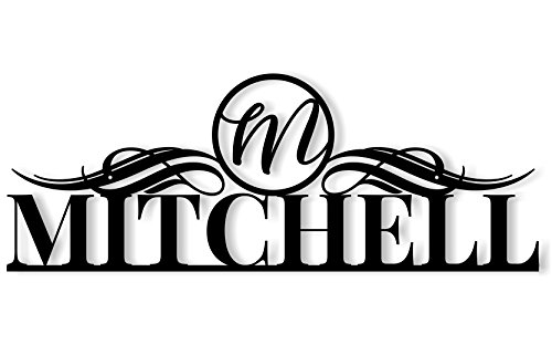 MRC Wood Products Personalized Metal Outdoor Family Name Sign with Monogram