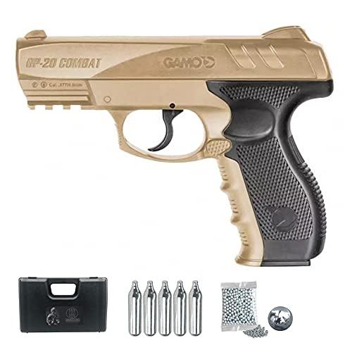 Pistola de balines gamo gp20 Desert (Color FDE) | Arma de CO2 semiautomática Calibre 4,5mm (de perdigones BB s de Acero y bombonas)
