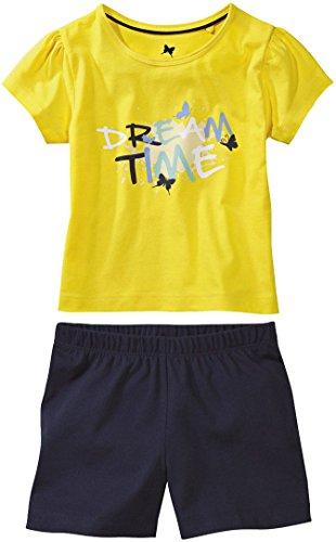 lupilu® Mädchen Schlafanzug Shorty Dream Time, 2-teilig (Gelb/Navy, Gr. 110/116)