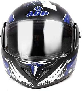 ABP NITRO MOTORCYCLE FULL PRINT BLACK WITH BLUE ISI MARK MOTORBIKE HELMET