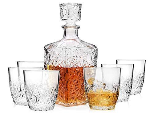 Bormioli, Dedalo 7-teiliges Whisky-Gläser-Set aus Glas, Fassungsvermögen der Karaffe 0,78 l, Füllmenge 260 ml, für echte Whisky-Kenner