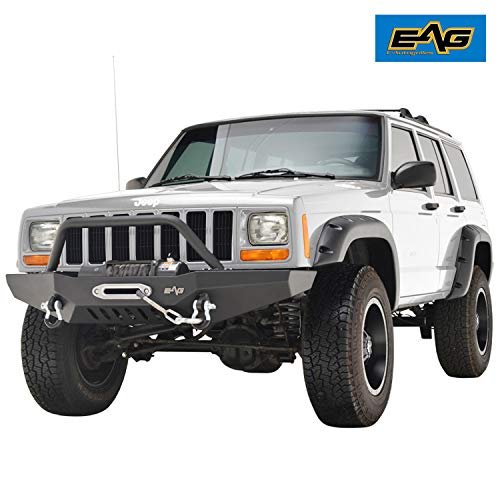 EAG Steel Front Bumper with Winch Plate Fit for 84-01 Jeep Cherokee XJ