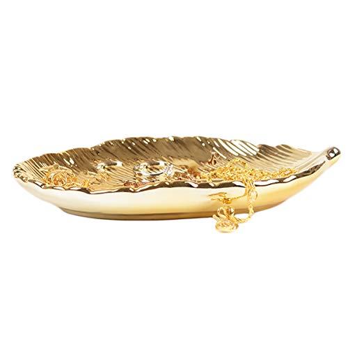 BESTonZON 2 Stücke Golden Leaf Schmuck Teller Tablett Handgemachte Keramikplatte Schmuck Aufbewahrungsring Halskette Zubehör Veranstalter für Home Desktop Dekoration