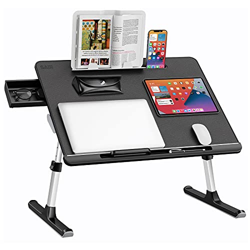 Laptop Bed Tray Table, SAIJI Adjustable Bed Desk for Laptop, Foldable Laptop Stand with Storage...