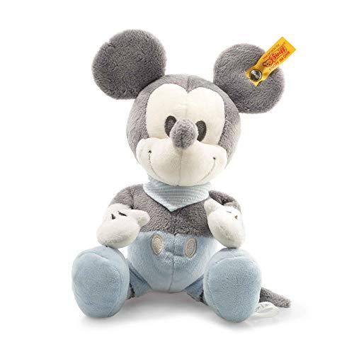 Steiff Disney Mickey Mouse - 23 cm - Kuscheltier für Kinder - mit Quietsche und Knisterfolie - weich & waschbar - grau/blau/weiß (290053)