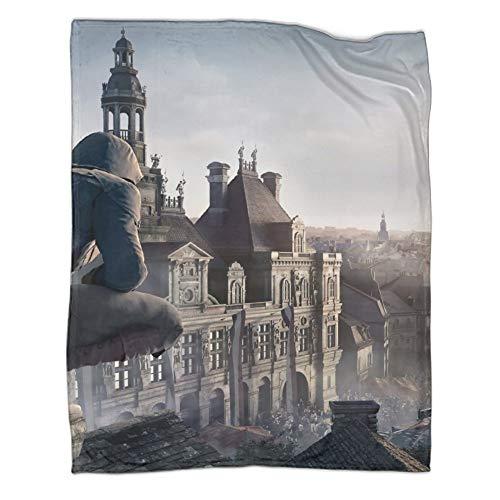 DRAGON VINES Assassin's Creed Unity Arno Dorian Notre Dame Catedral de la calle Crowd Cool Bed Decoración Manta para dormitorio de hombre mujer 150 x 200 cm