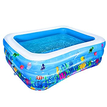 AsterOutdoor Inflatable Swimming Pool Full-Sized Above Ground Kiddle Family Lounge Pool for Adult Kids Toddlers 70.8 x 55.1 x 23.6  Thickened Blow Up for Backyard Garden Party Blue