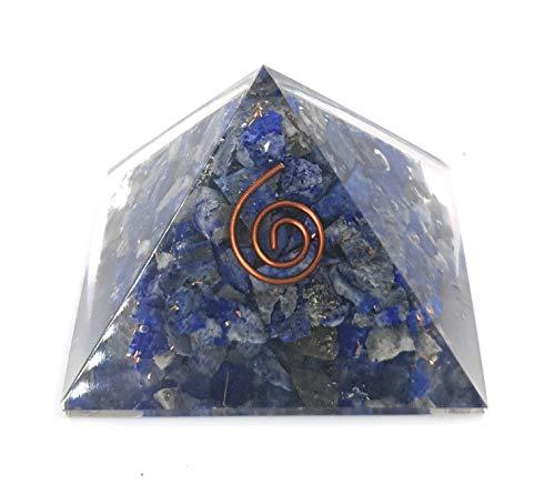 Pirámide de Resina Orgonita con Mineral Lapislázuli Cuarzo Rosa Shungit Piedra Luna 5x5cm Transforme energía a positiva Feng Shui (Lapislázuli)