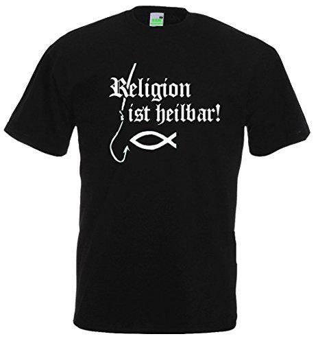 Religion ist heilbar | T-Shirt | Schwarz | Größe XL