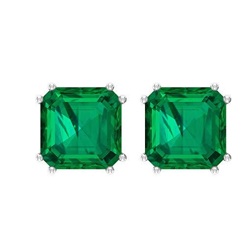 Pendientes solitarios de turmalina verde de 6,3 CT, 8 mm, corte Asscher, doble punta (calidad AAA), 10K Oro amarillo, Par