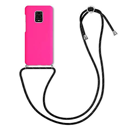 kwmobile Funda con Cuerda Compatible con Xiaomi Redmi Note 9S / 9 Pro / 9 Pro MAX - Carcasa de Silicona con Colgante - en Rosa neón/Negro